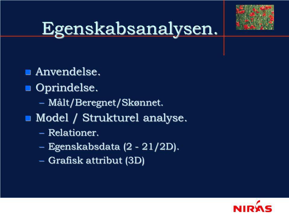 Egenskabsanalysen. n Anvendelse. n Oprindelse. –Målt/Beregnet/Skønnet.