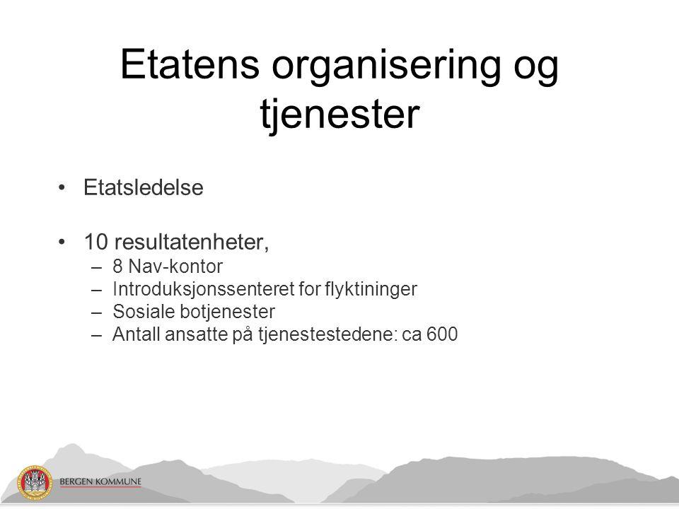 Etatens organisering og tjenester Etatsledelse 10 resultatenheter, –8 Nav-kontor –Introduksjonssenteret for flyktininger –Sosiale botjenester –Antall