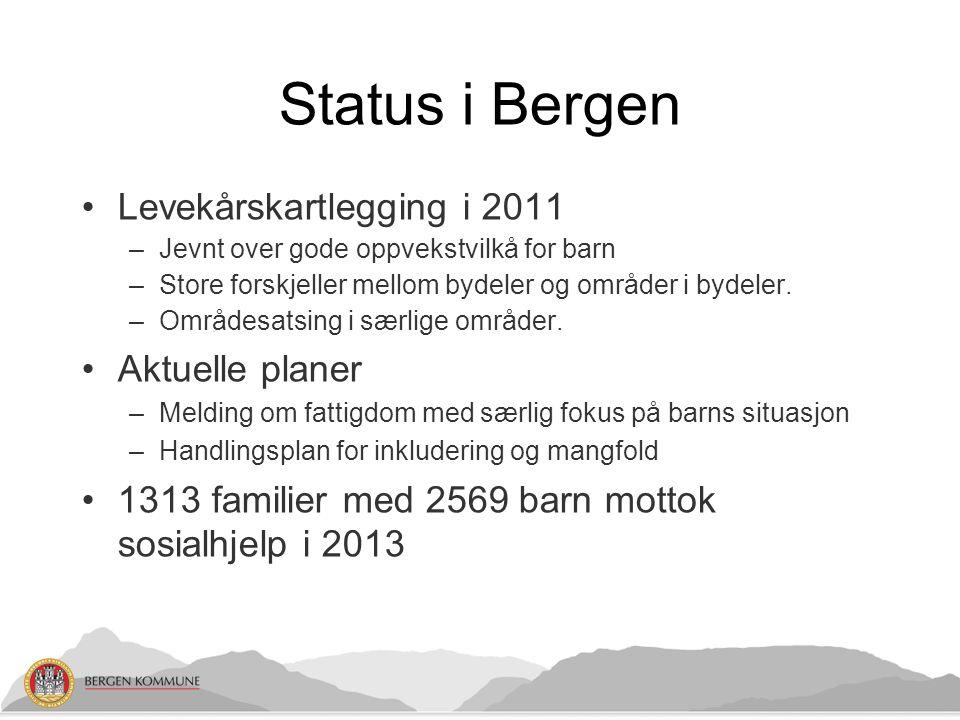 Status i Bergen Levekårskartlegging i 2011 –Jevnt over gode oppvekstvilkå for barn –Store forskjeller mellom bydeler og områder i bydeler. –Områdesats