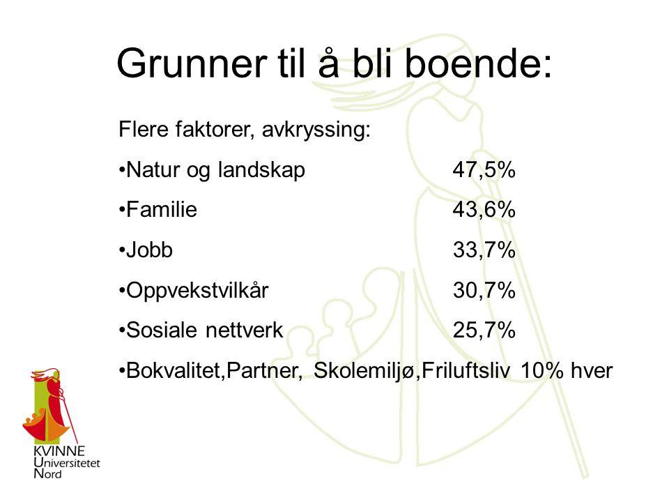 Grunner til å bli boende: Flere faktorer, avkryssing: Natur og landskap47,5% Familie43,6% Jobb33,7% Oppvekstvilkår30,7% Sosiale nettverk25,7% Bokvalitet,Partner, Skolemiljø,Friluftsliv 10% hver