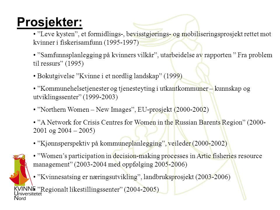 Prosjekter: Leve kysten , et formidlings-, bevisstgjørings- og mobiliseringsprosjekt rettet mot kvinner i fiskerisamfunn (1995-1997) Samfunnsplanlegging på kvinners vilkår , utarbeidelse av rapporten Fra problem til ressurs (1995) Bokutgivelse Kvinne i et nordlig landskap (1999) Kommunehelsetjenester og tjenesteyting i utkantkommuner – kunnskap og utviklingssenter (1999-2003) Northern Women – New Images , EU-prosjekt (2000-2002) A Network for Crisis Centres for Women in the Russian Barents Region (2000- 2001 og 2004 – 2005) Kjønnsperspektiv på kommuneplanlegging , veileder (2000-2002) Women's participation in decision-making processes in Artic fisheries resource management (2003-2004 med oppfølging 2005-2006) Kvinnesatsing er næringsutvikling , landbruksprosjekt (2003-2006) Regionalt likestillingssenter (2004-2005)