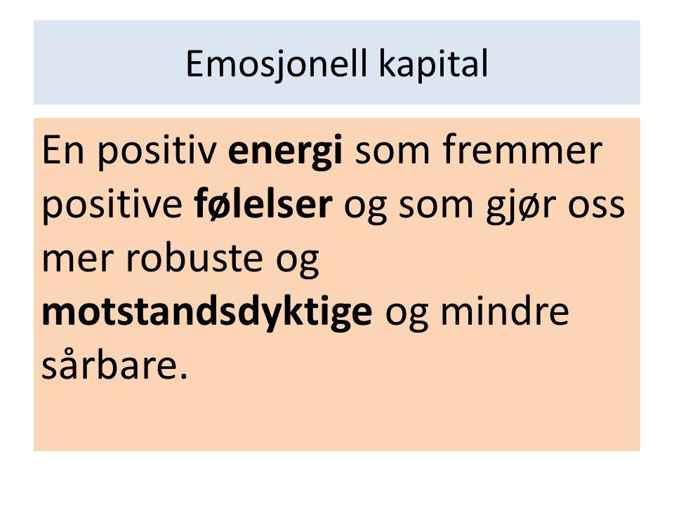 Emosjonell kapital En positiv energi som fremmer positive følelser og som gjør oss mer robuste og motstandsdyktige og mindre sårbare.