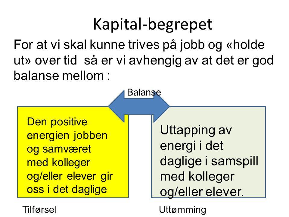 Kapital-begrepet For at vi skal kunne trives på jobb og «holde ut» over tid så er vi avhengig av at det er god balanse mellom : Den positive energien