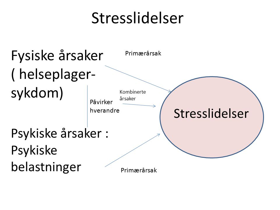 Stresslidelser Fysiske årsaker ( helseplager- sykdom) Psykiske årsaker : Psykiske belastninger Primærårsak Påvirker hverandre Kombinerte årsaker