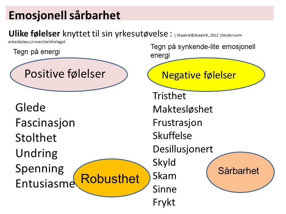Emosjonell sårbarhet Ulike følelser knyttet til sin yrkesutøvelse : ( Skaalvik&Skaalvik, 2012 )Skolen som arbeidplass,Universitetsforlaget Positive fø