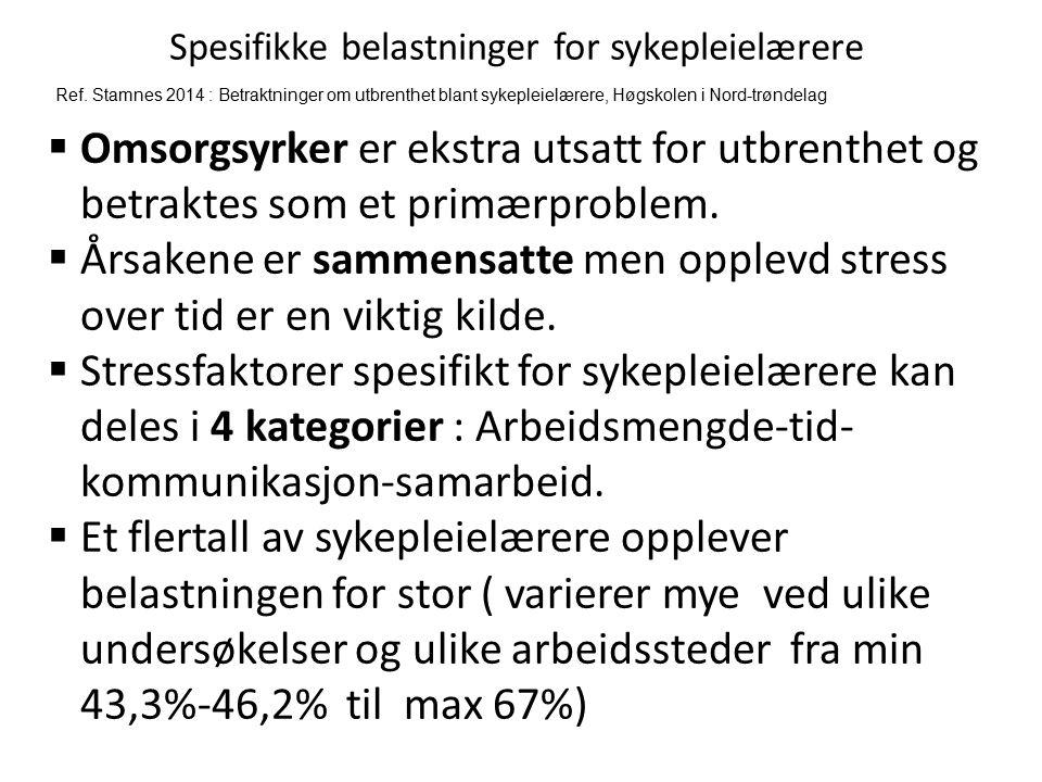 Spesifikke belastninger for sykepleielærere Ref. Stamnes 2014 : Betraktninger om utbrenthet blant sykepleielærere, Høgskolen i Nord-trøndelag  Omsorg