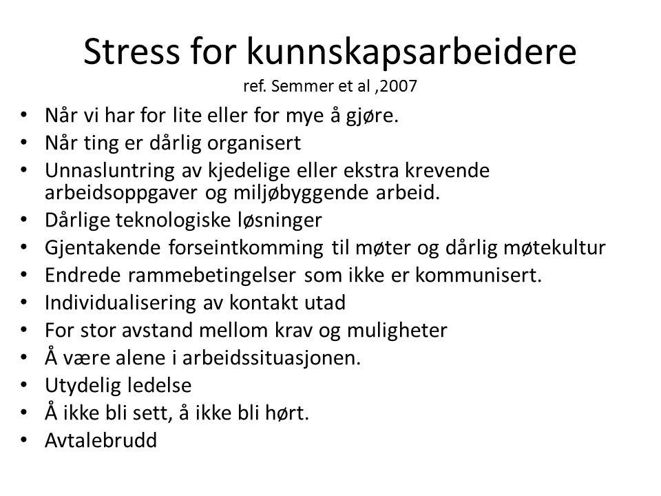 Stress for kunnskapsarbeidere ref. Semmer et al,2007 Når vi har for lite eller for mye å gjøre. Når ting er dårlig organisert Unnasluntring av kjedeli