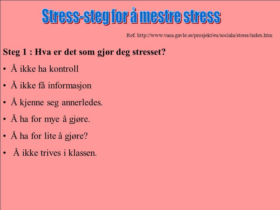 Ref. http://www.vasa.gavle.se/prosjekt/eu/sociala/stress/index.htm Steg 1 : Hva er det som gjør deg stresset? Å ikke ha kontroll Å ikke få informasjon