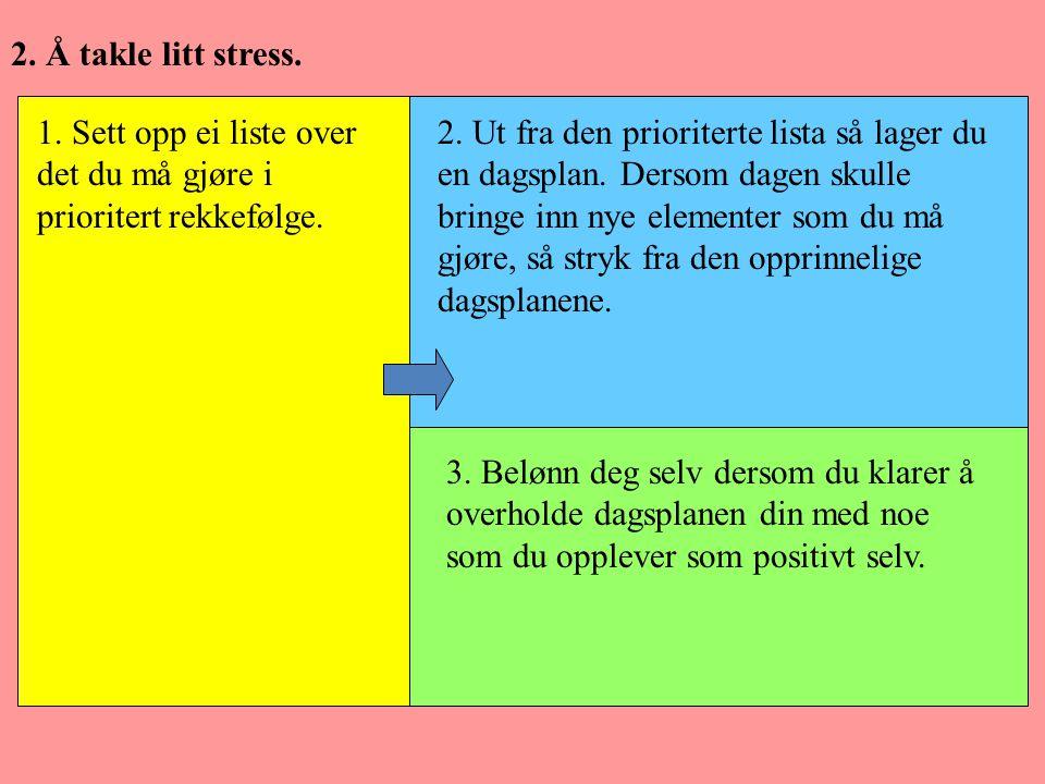2. Å takle litt stress. 1. Sett opp ei liste over det du må gjøre i prioritert rekkefølge. 2. Ut fra den prioriterte lista så lager du en dagsplan. De