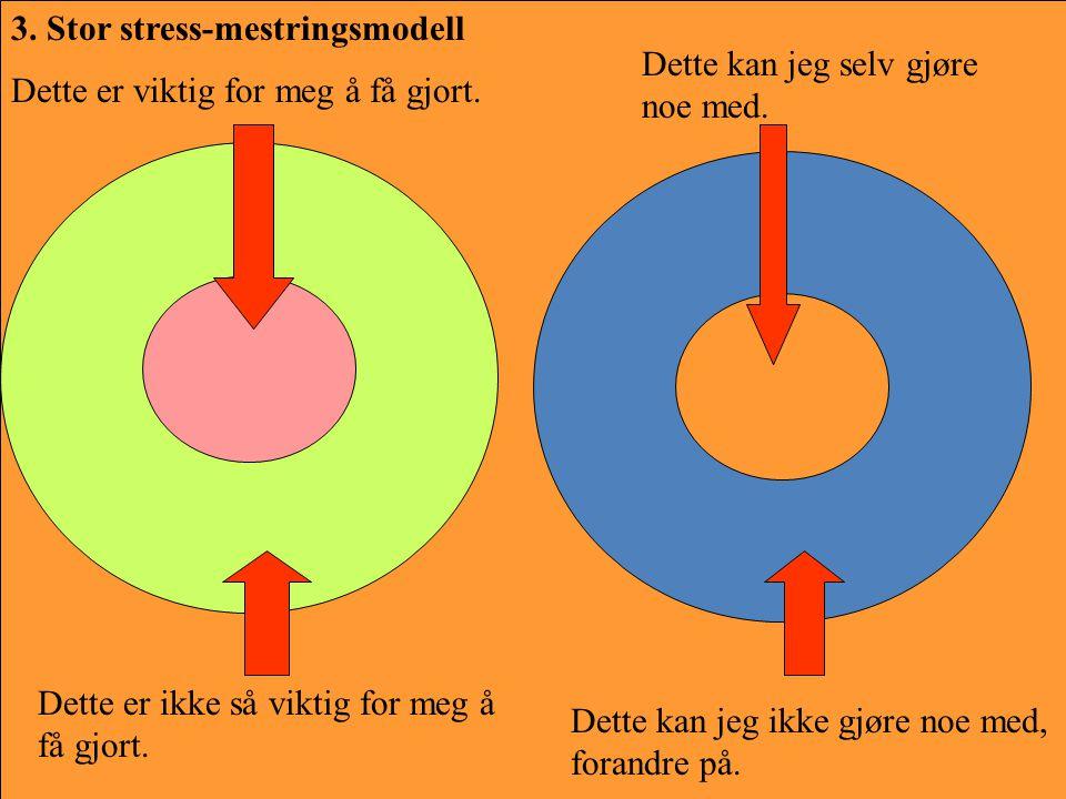 3. Stor stress-mestringsmodell Dette er ikke så viktig for meg å få gjort. Dette er viktig for meg å få gjort. Dette kan jeg ikke gjøre noe med, foran