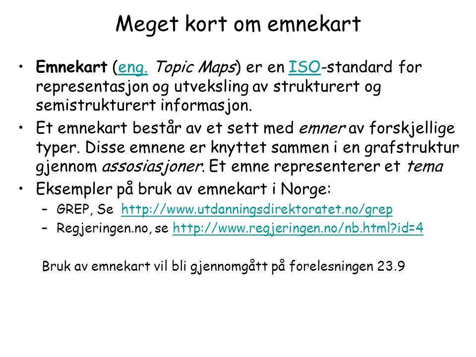Meget kort om emnekart Emnekart (eng. Topic Maps) er en ISO-standard for representasjon og utveksling av strukturert og semistrukturert informasjon.en