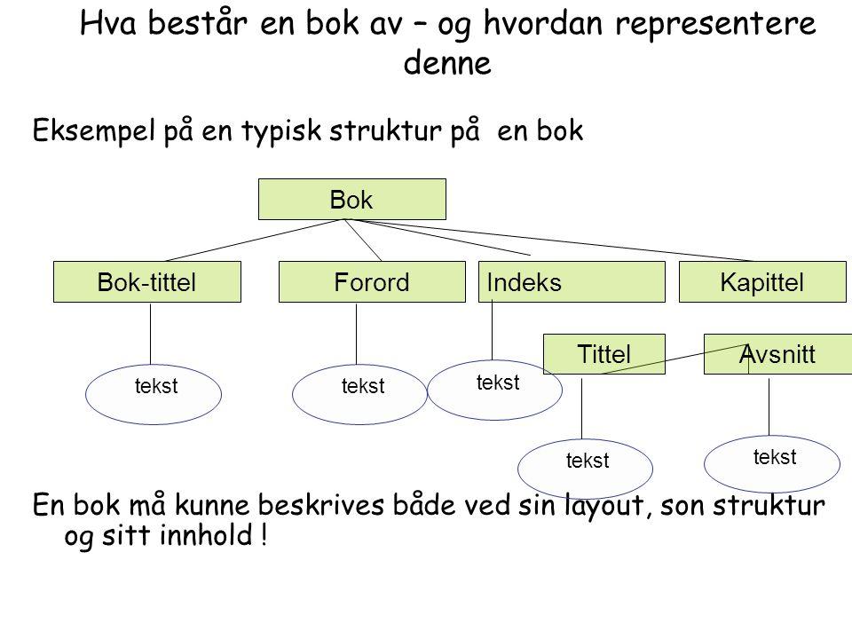 Hva består en bok av – og hvordan representere denne Eksempel på en typisk struktur på en bok En bok må kunne beskrives både ved sin layout, son struktur og sitt innhold .