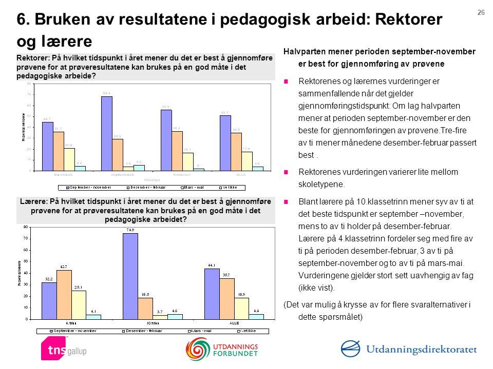 26 6. Bruken av resultatene i pedagogisk arbeid: Rektorer og lærere Halvparten mener perioden september-november er best for gjennomføring av prøvene