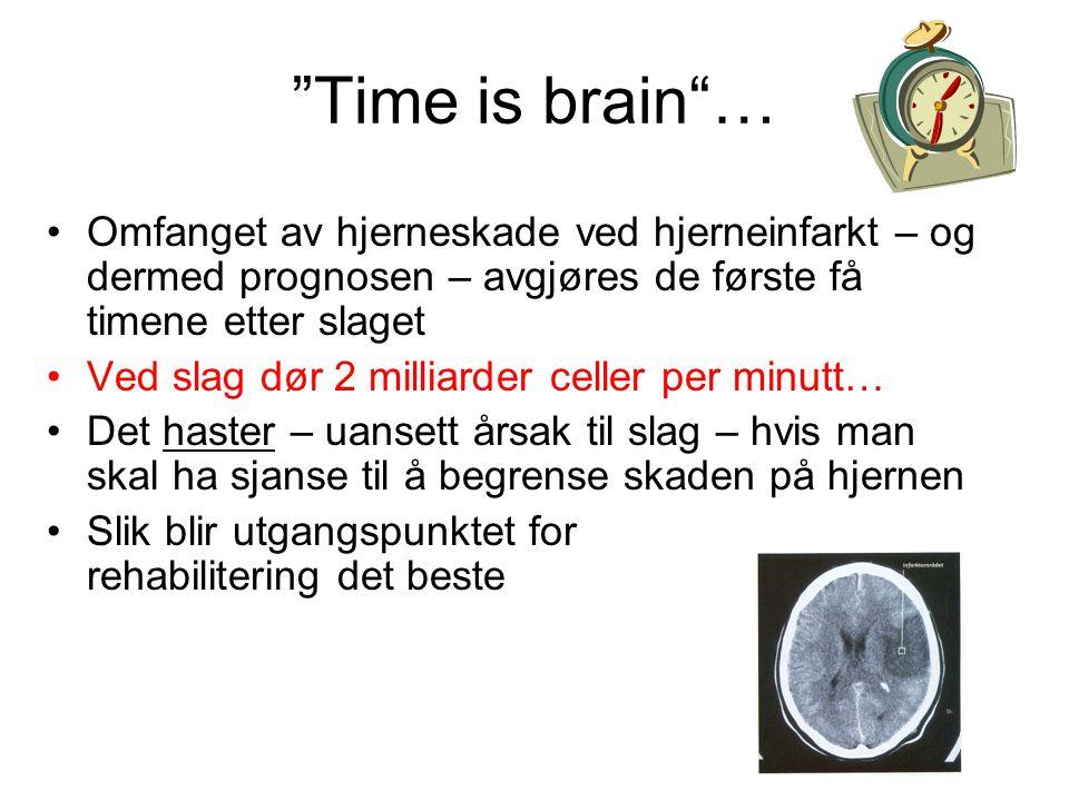 """""""Time is brain""""… Omfanget av hjerneskade ved hjerneinfarkt – og dermed prognosen – avgjøres de første få timene etter slaget Ved slag dør 2 milliarder"""