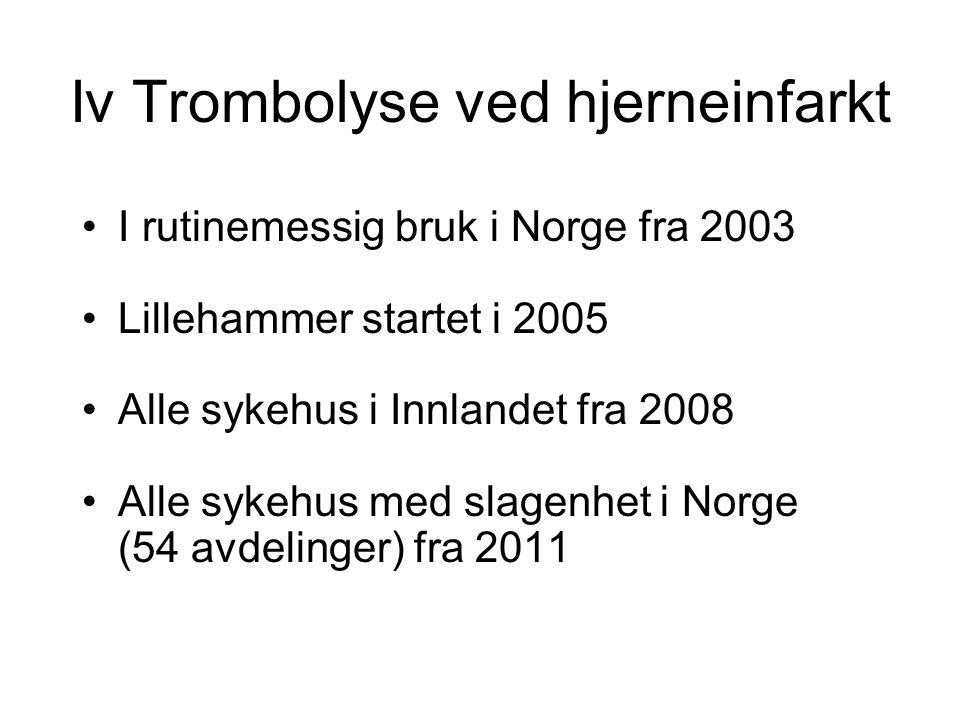 Iv Trombolyse ved hjerneinfarkt I rutinemessig bruk i Norge fra 2003 Lillehammer startet i 2005 Alle sykehus i Innlandet fra 2008 Alle sykehus med sla