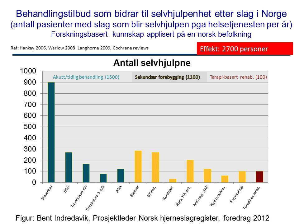 Behandlingstilbud som bidrar til selvhjulpenhet etter slag i Norge (antall pasienter med slag som blir selvhjulpen pga helsetjenesten per år) Forsknin