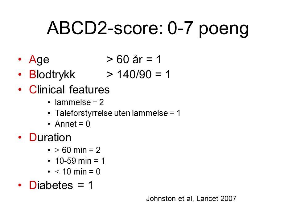 ABCD2-score: 0-7 poeng Age > 60 år = 1 Blodtrykk > 140/90 = 1 Clinical features lammelse = 2 Taleforstyrrelse uten lammelse = 1 Annet = 0 Duration > 6
