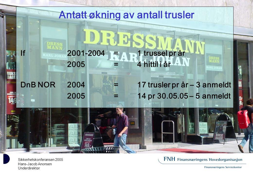 Sikkerhetskonferansen 2005 Hans-Jacob Anonsen Underdirektør Antatt økning av antall trusler If2001-2004=1 trussel pr år 2005=4 hittil i år DnB NOR2004=17 trusler pr år – 3 anmeldt 2005=14 pr 30.05.05 – 5 anmeldt