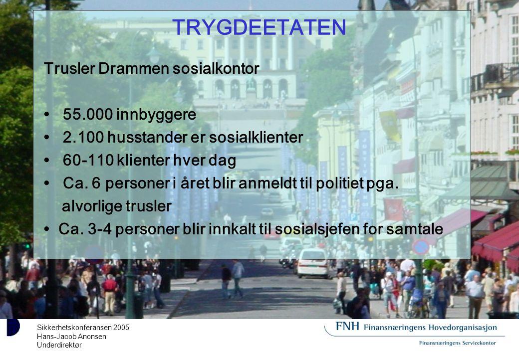 Sikkerhetskonferansen 2005 Hans-Jacob Anonsen Underdirektør TRYGDEETATEN Trusler Drammen sosialkontor 55.000 innbyggere 2.100 husstander er sosialklienter 60-110 klienter hver dag Ca.