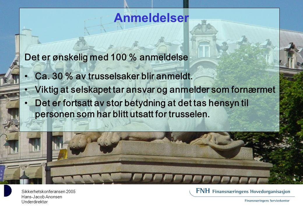 Sikkerhetskonferansen 2005 Hans-Jacob Anonsen Underdirektør Anmeldelser Det er ønskelig med 100 % anmeldelse Ca.