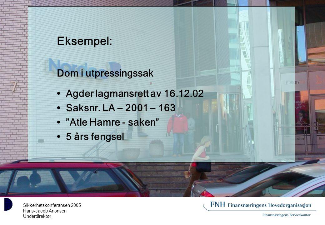 Sikkerhetskonferansen 2005 Hans-Jacob Anonsen Underdirektør Eksempel: Dom i utpressingssak Agder lagmansrett av 16.12.02 Saksnr.