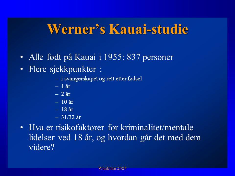 Werner's Kauai-studie Alle født på Kauai i 1955: 837 personer Flere sjekkpunkter : –i svangerskapet og rett etter fødsel –1 år –2 år –10 år –18 år –31/32 år Hva er risikofaktorer for kriminalitet/mentale lidelser ved 18 år, og hvordan går det med dem videre.