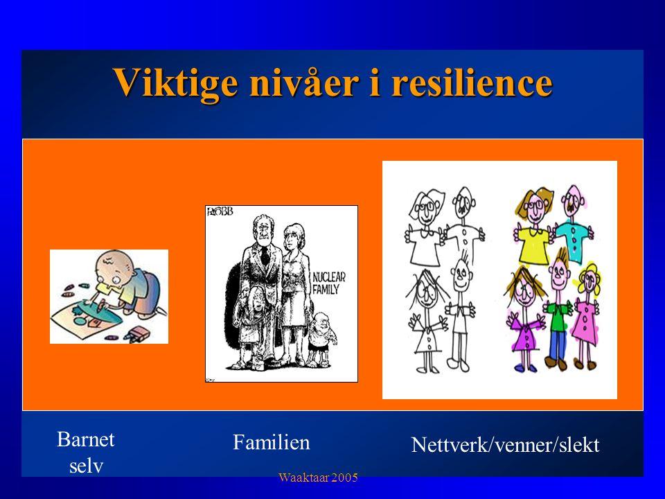 Viktige nivåer i resilience Barnet selv Familien Nettverk/venner/slekt Waaktaar 2005