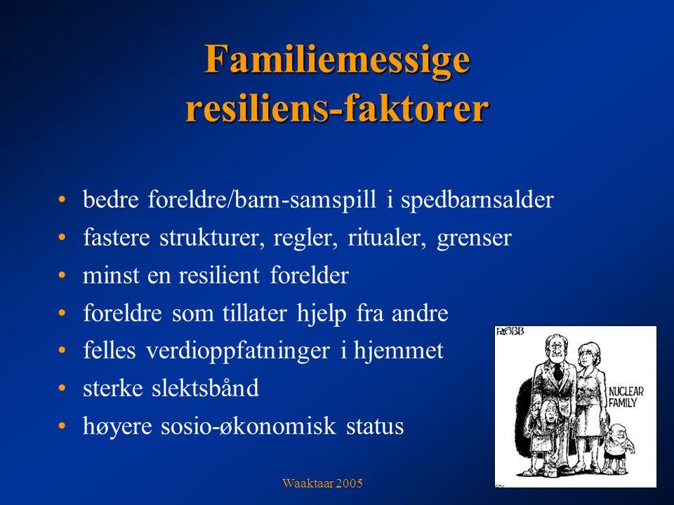 Familiemessige resilien S -faktorer bedre foreldre/barn-samspill i spedbarnsalder fastere strukturer, regler, ritualer, grenser minst en resilient forelder foreldre som tillater hjelp fra andre felles verdioppfatninger i hjemmet sterke slektsbånd høyere sosio-økonomisk status Waaktaar 2005
