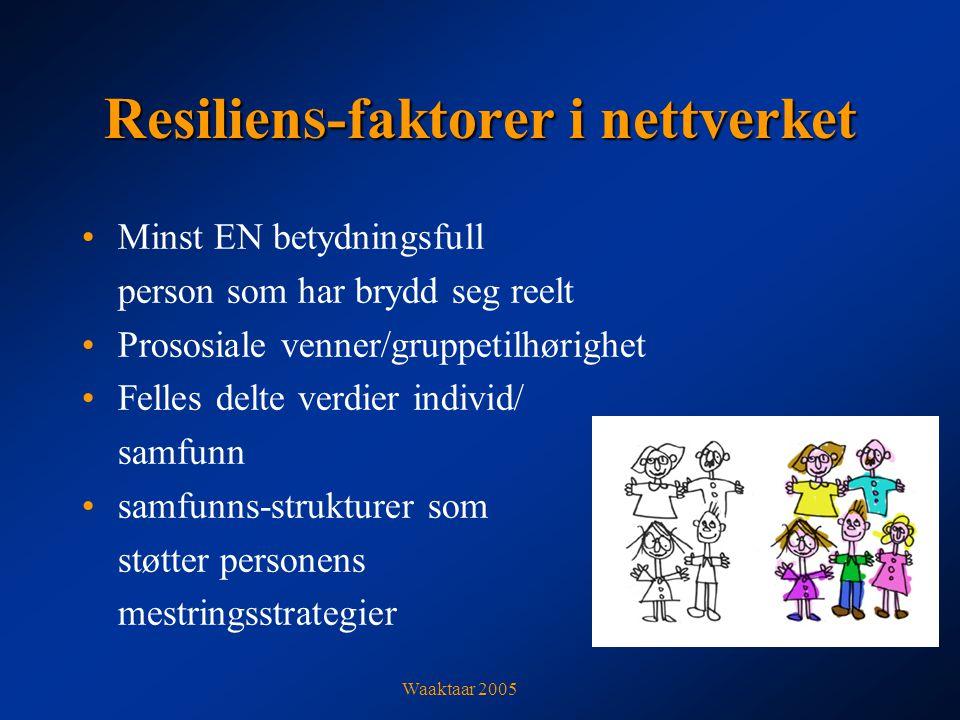 Resilien S -faktorer i nettverket Minst EN betydningsfull person som har brydd seg reelt Prososiale venner/gruppetilhørighet Felles delte verdier individ/ samfunn samfunns-strukturer som støtter personens mestringsstrategier Waaktaar 2005