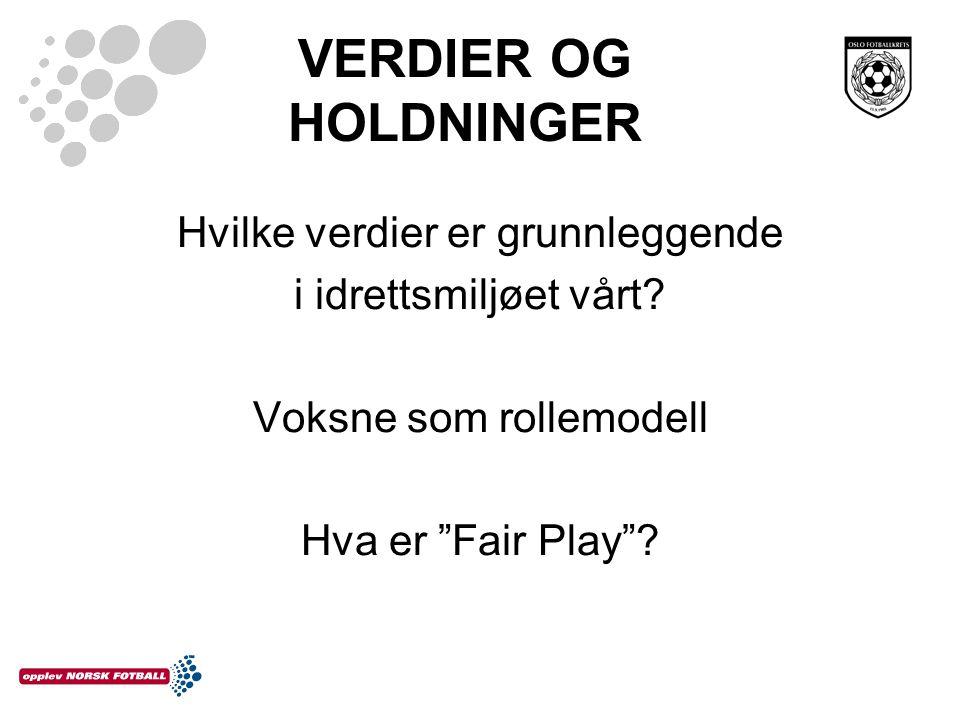 """VERDIER OG HOLDNINGER Hvilke verdier er grunnleggende i idrettsmiljøet vårt? Voksne som rollemodell Hva er """"Fair Play""""?"""