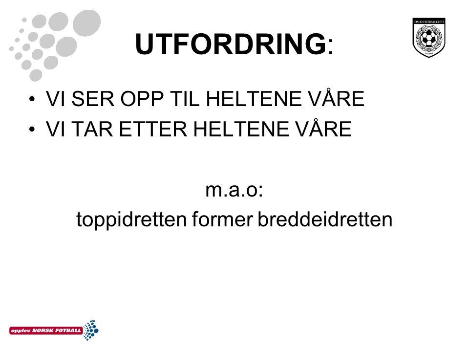 UTFORDRING: VI SER OPP TIL HELTENE VÅRE VI TAR ETTER HELTENE VÅRE m.a.o: toppidretten former breddeidretten