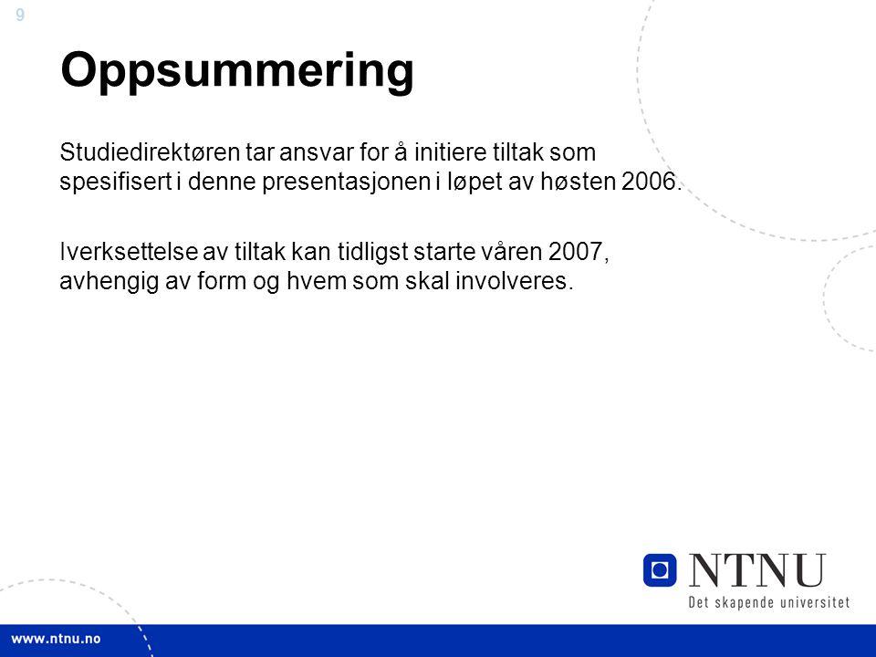 9 9 Oppsummering Studiedirektøren tar ansvar for å initiere tiltak som spesifisert i denne presentasjonen i løpet av høsten 2006. Iverksettelse av til