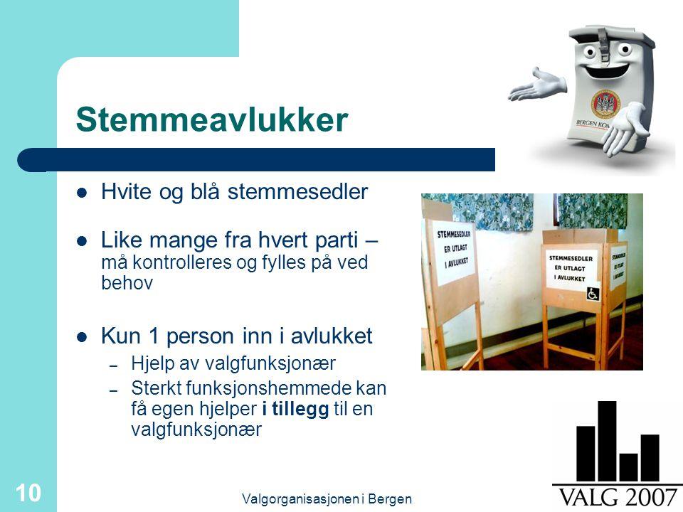 Valgorganisasjonen i Bergen 10 Stemmeavlukker Hvite og blå stemmesedler Like mange fra hvert parti – må kontrolleres og fylles på ved behov Kun 1 person inn i avlukket – Hjelp av valgfunksjonær – Sterkt funksjonshemmede kan få egen hjelper i tillegg til en valgfunksjonær
