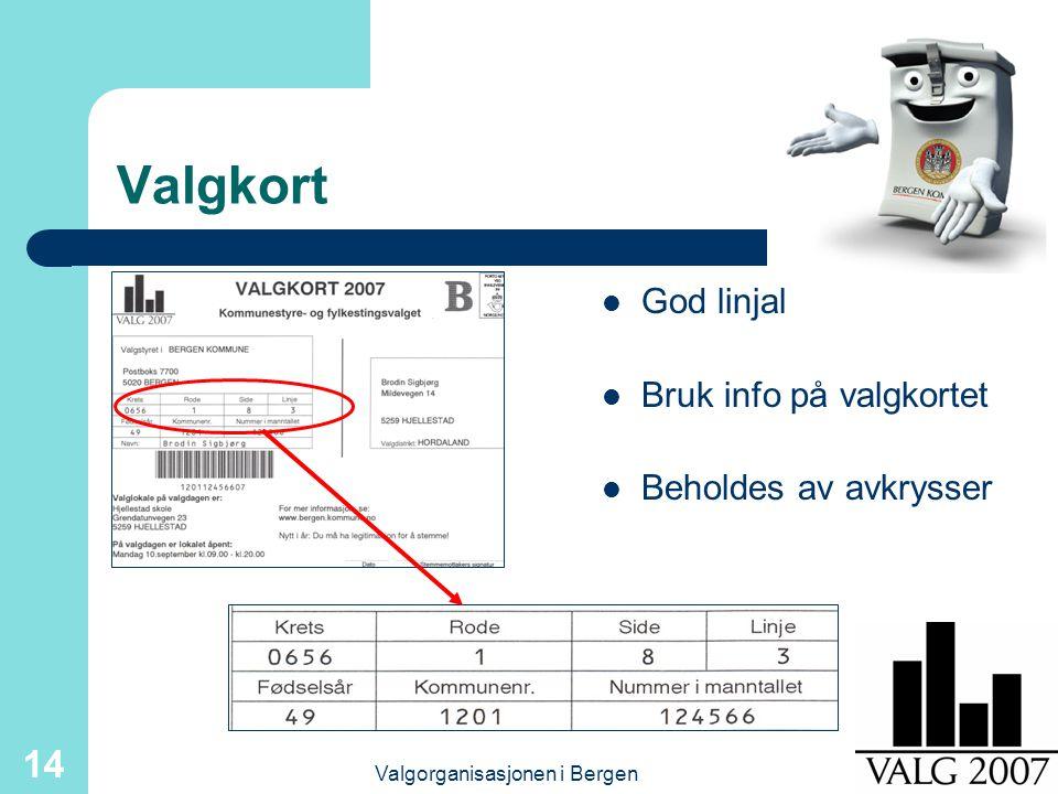 Valgorganisasjonen i Bergen 14 Valgkort God linjal Bruk info på valgkortet Beholdes av avkrysser