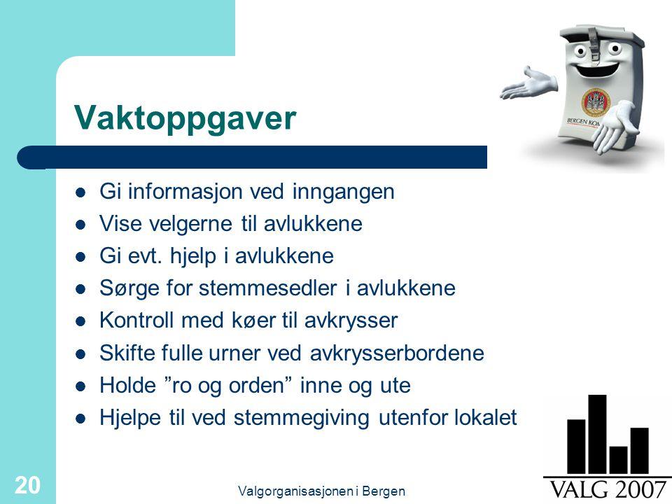 Valgorganisasjonen i Bergen 20 Vaktoppgaver Gi informasjon ved inngangen Vise velgerne til avlukkene Gi evt.