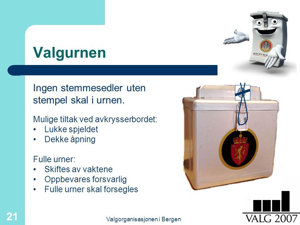 Valgorganisasjonen i Bergen 21 Valgurnen Mulige tiltak ved avkrysserbordet: Lukke spjeldet Dekke åpning Ingen stemmesedler uten stempel skal i urnen.