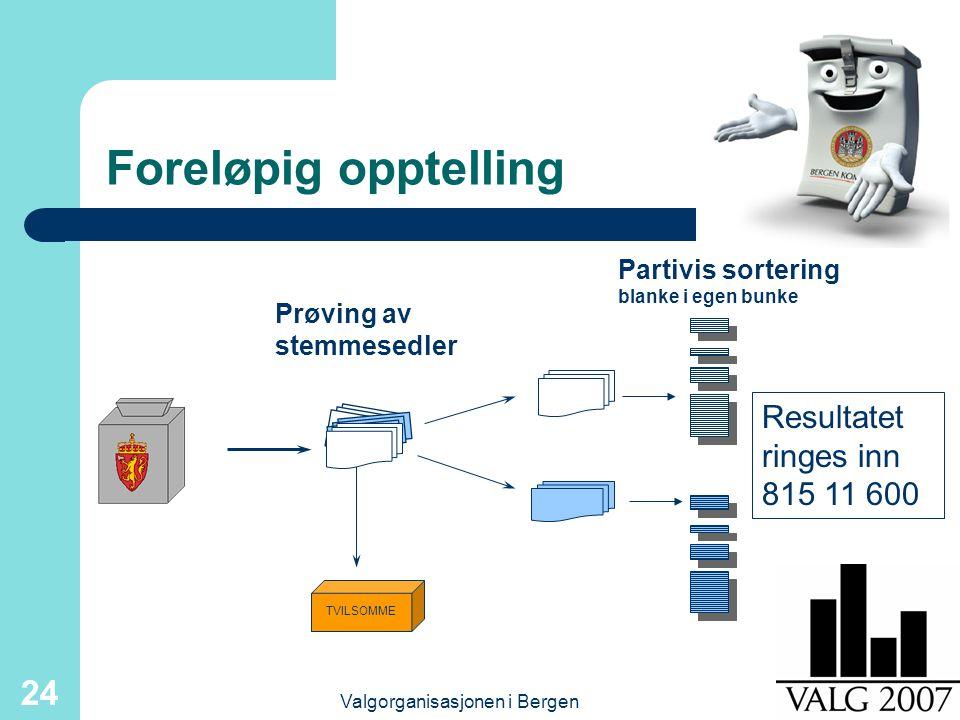 Valgorganisasjonen i Bergen 24 Foreløpig opptelling TVILSOMME Prøving av stemmesedler Partivis sortering blanke i egen bunke Resultatet ringes inn 815 11 600