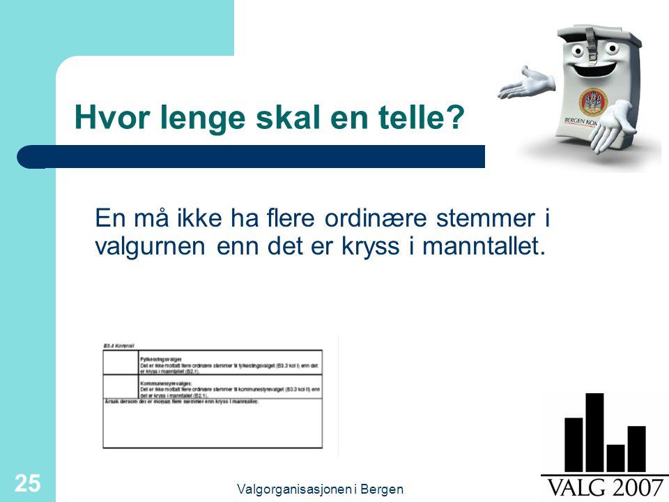 Valgorganisasjonen i Bergen 25 Hvor lenge skal en telle.