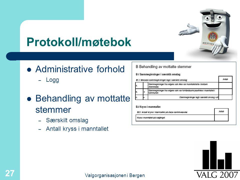 Valgorganisasjonen i Bergen 27 Protokoll/møtebok Administrative forhold – Logg Behandling av mottatte stemmer – Særskilt omslag – Antall kryss i manntallet