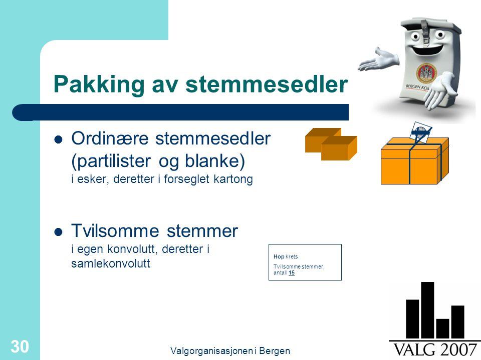 Valgorganisasjonen i Bergen 30 Pakking av stemmesedler Ordinære stemmesedler (partilister og blanke) i esker, deretter i forseglet kartong Tvilsomme stemmer i egen konvolutt, deretter i samlekonvolutt Hop krets Tvilsomme stemmer, antall 15