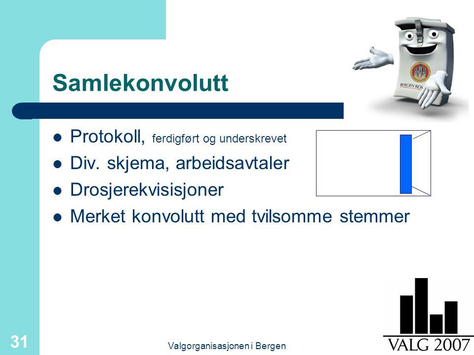 Valgorganisasjonen i Bergen 31 Samlekonvolutt Protokoll, ferdigført og underskrevet Div.