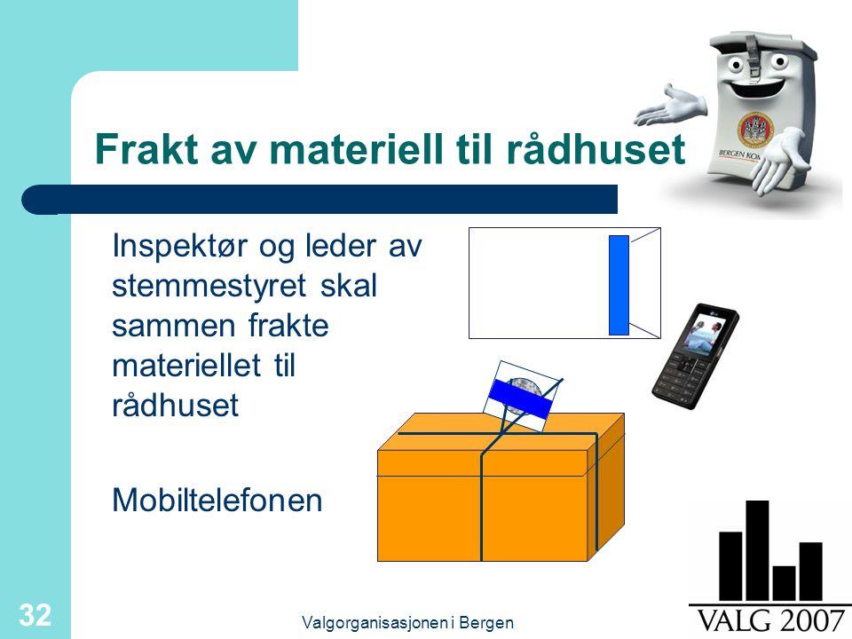 Valgorganisasjonen i Bergen 32 Frakt av materiell til rådhuset Inspektør og leder av stemmestyret skal sammen frakte materiellet til rådhuset Mobiltelefonen