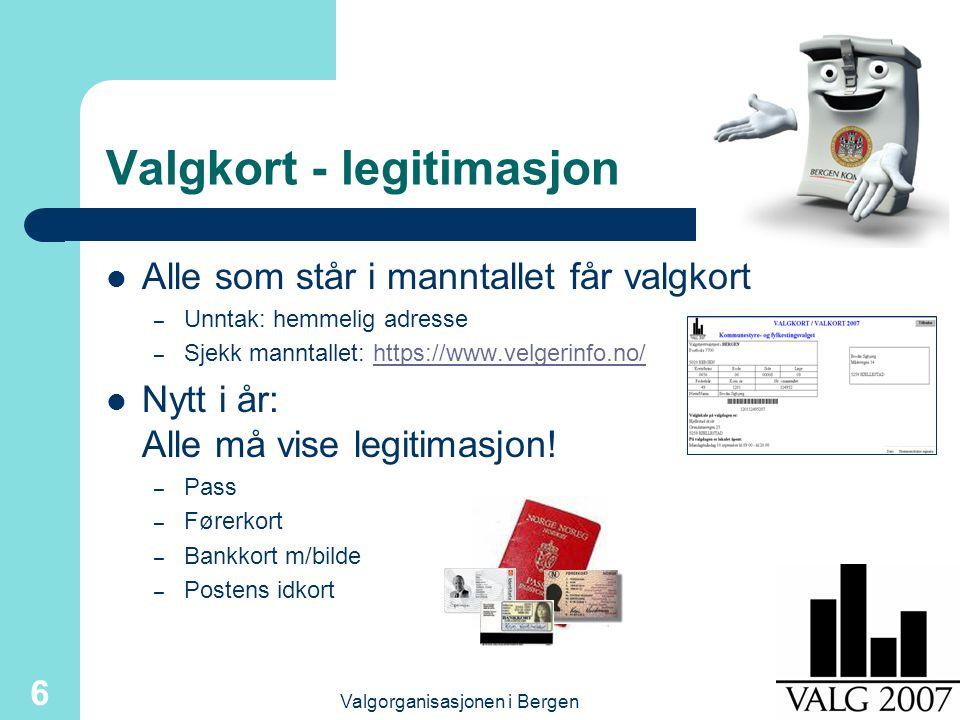 Valgorganisasjonen i Bergen 6 Alle som står i manntallet får valgkort – Unntak: hemmelig adresse – Sjekk manntallet: https://www.velgerinfo.no/https://www.velgerinfo.no/ Nytt i år: Alle må vise legitimasjon.