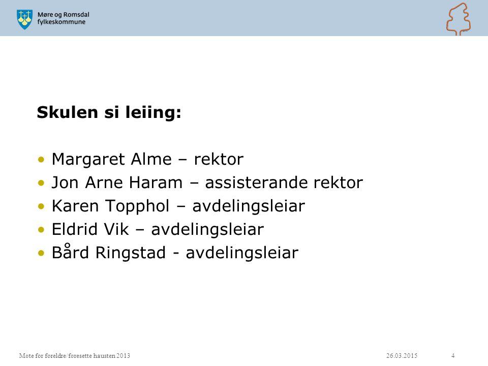 Skulen si leiing: Margaret Alme – rektor Jon Arne Haram – assisterande rektor Karen Topphol – avdelingsleiar Eldrid Vik – avdelingsleiar Bård Ringstad