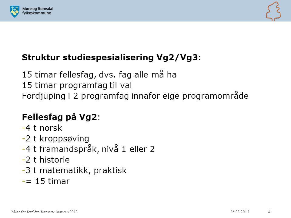 Struktur studiespesialisering Vg2/Vg3: 15 timar fellesfag, dvs. fag alle må ha 15 timar programfag til val Fordjuping i 2 programfag innafor eige prog