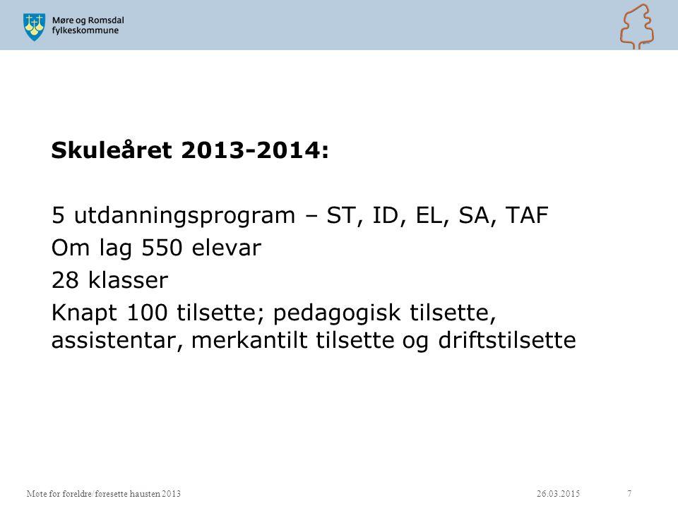 Skuleåret 2013-2014: 5 utdanningsprogram – ST, ID, EL, SA, TAF Om lag 550 elevar 28 klasser Knapt 100 tilsette; pedagogisk tilsette, assistentar, merk
