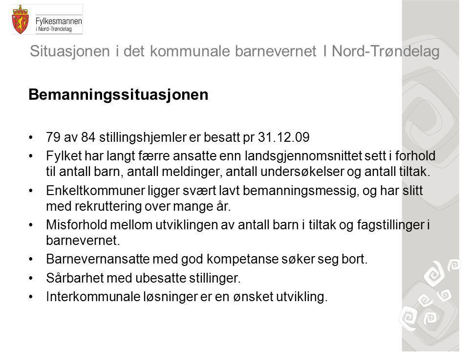 Situasjonen i det kommunale barnevernet I Nord-Trøndelag Bemanningssituasjonen 79 av 84 stillingshjemler er besatt pr 31.12.09 Fylket har langt færre ansatte enn landsgjennomsnittet sett i forhold til antall barn, antall meldinger, antall undersøkelser og antall tiltak.