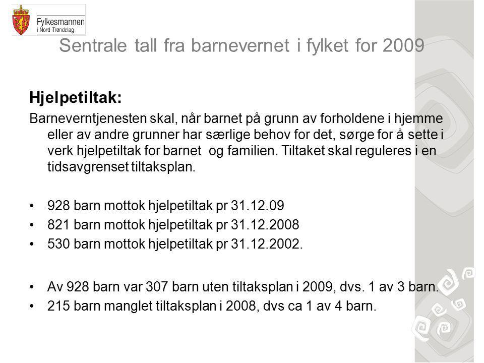 Sentrale tall fra barnevernet i fylket for 2009 Hjelpetiltak: Barneverntjenesten skal, når barnet på grunn av forholdene i hjemme eller av andre grunner har særlige behov for det, sørge for å sette i verk hjelpetiltak for barnet og familien.