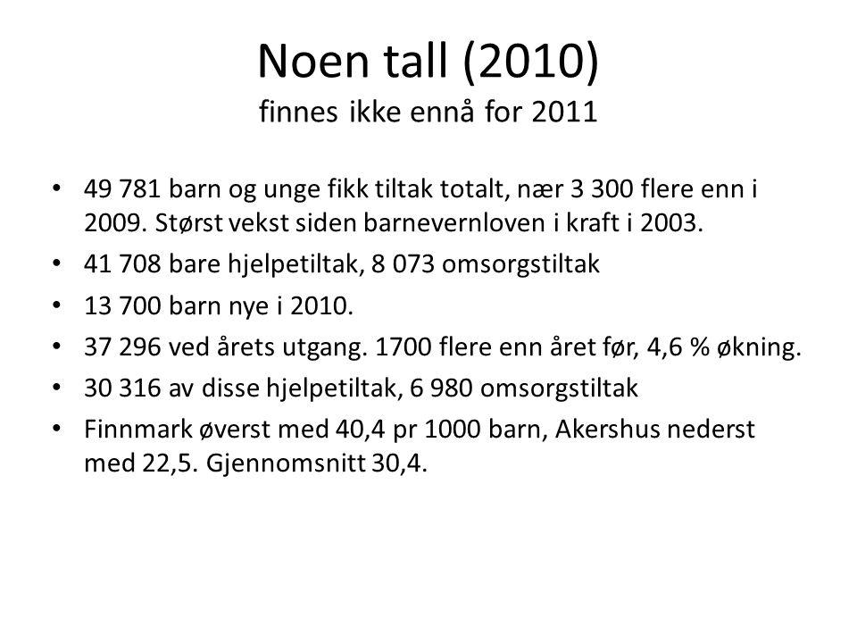 Noen tall (2010) finnes ikke ennå for 2011 49 781 barn og unge fikk tiltak totalt, nær 3 300 flere enn i 2009. Størst vekst siden barnevernloven i kra