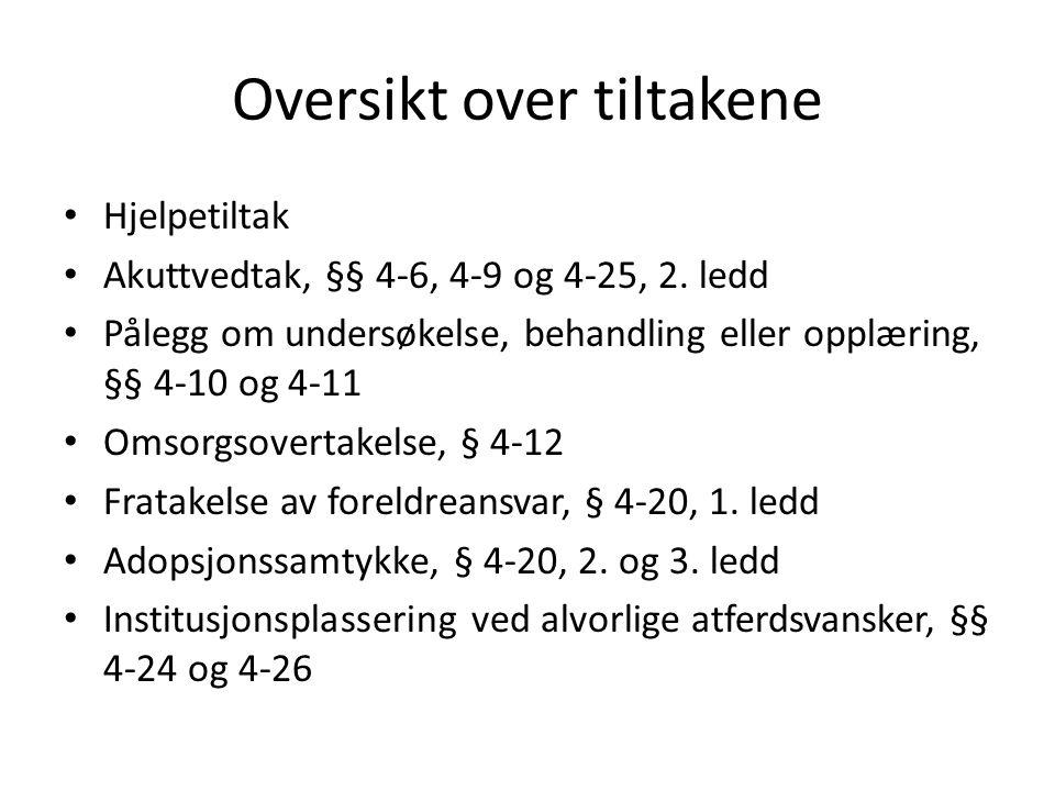 Oversikt over tiltakene Hjelpetiltak Akuttvedtak, §§ 4-6, 4-9 og 4-25, 2.